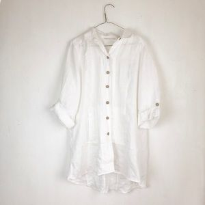 Soft surroundings white linen top buttoned down S